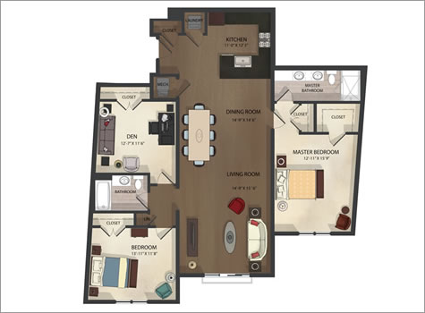 Federal Hill apartment unit 4 floor plan