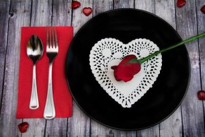 valentine's day dinner plate with rose